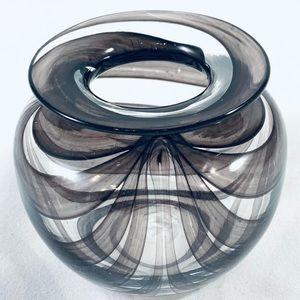 Vintage Blown Studio Glass Vase With Colour Ribbon Trail Pattern
